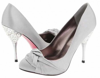 Rhinestone Embossed Metallic Heel